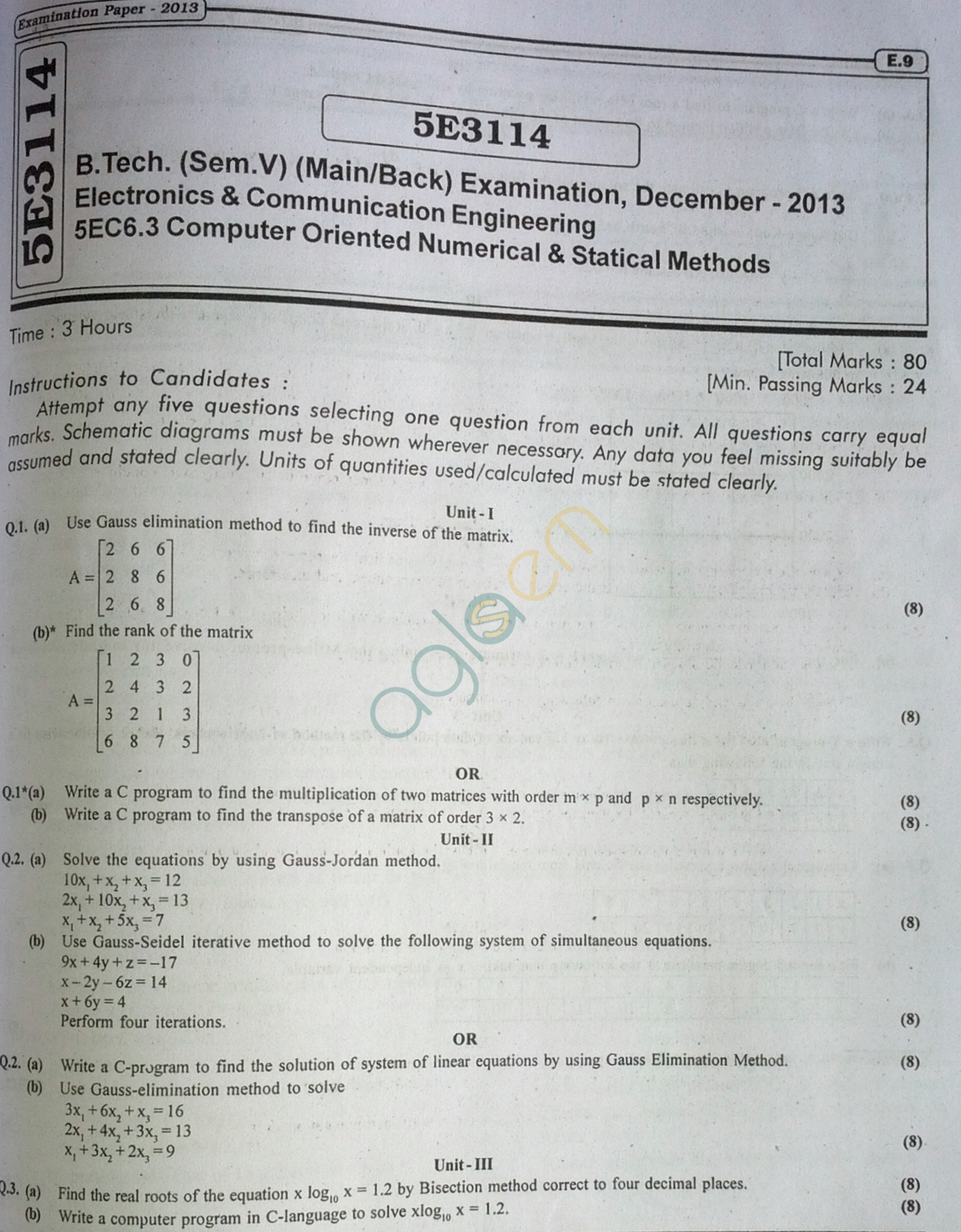 RTU: Question Papers 2013 - 5 Semester - EC - 5E3114