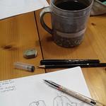 Fashion sketches, pens, paper and tea... Happy morning everyone ! #instantanebureau #onmydesk #greenmartha #custom #tea