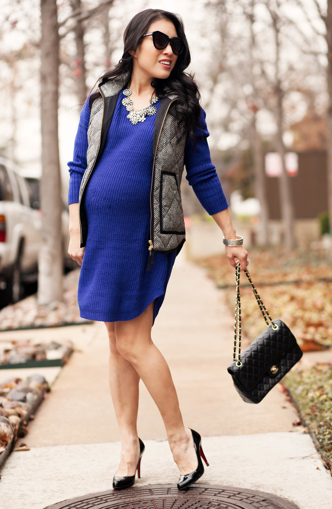 cute & little blog | petite fashion blog | maternity | sheinside blue sweater dress, quilted herringbone vest, chanel flap purse, louboutin decollete pumps | fall outfit