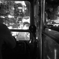 A City Of Dreams. A City Of Spirit. Where Life Never Stops. And The Lights Never Dim. #ThisIsMumbai. #ThroughTheWindow #Buses   Day 3 : #BlackAndWhite # MarchPhotoChallenge