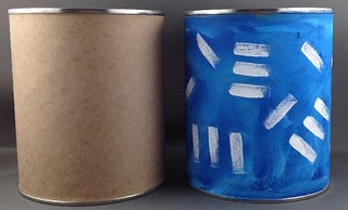 Decorated can for studio storage