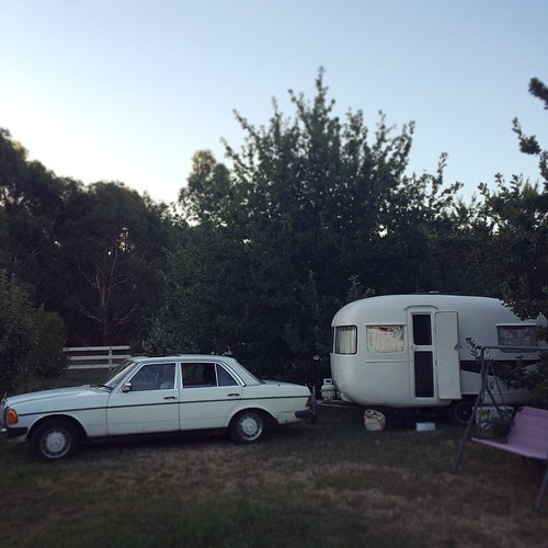 038/365 • this is where we are for the next week or so, nestled between two oak trees on our friend's beautiful farm • #038_2015 #goodnight #friends #hastings #morningtonpeninsula #vintagecaravan #300D #tranquility #sunliner #dusk #nofixedaddress #caravan