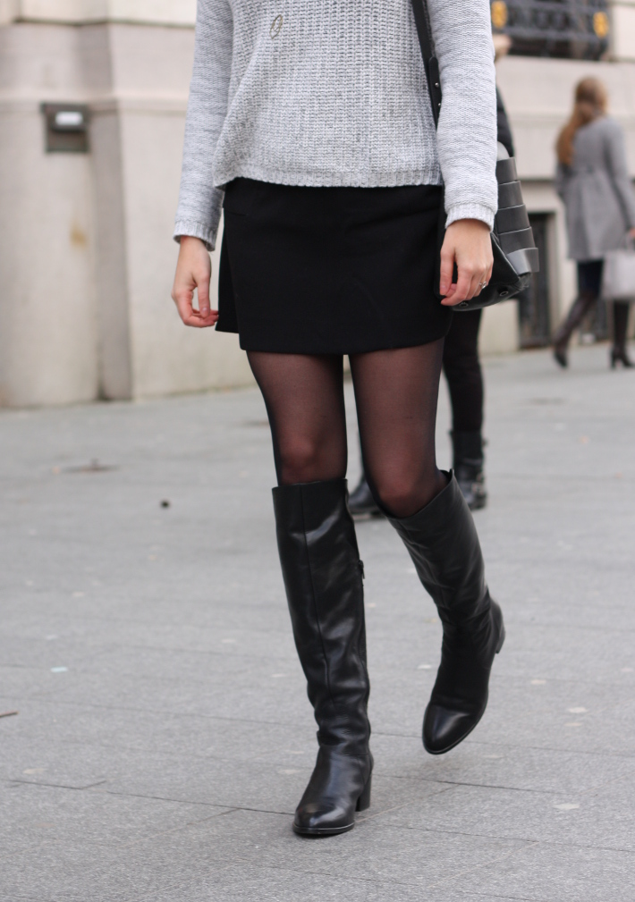 outfit: mini skirt, over the knee boots