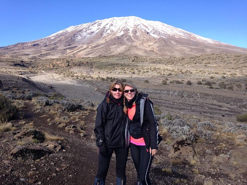 Karen & Rachael with Kilimanjaro in the background