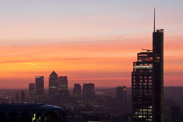Heron Tower and East London at dawn