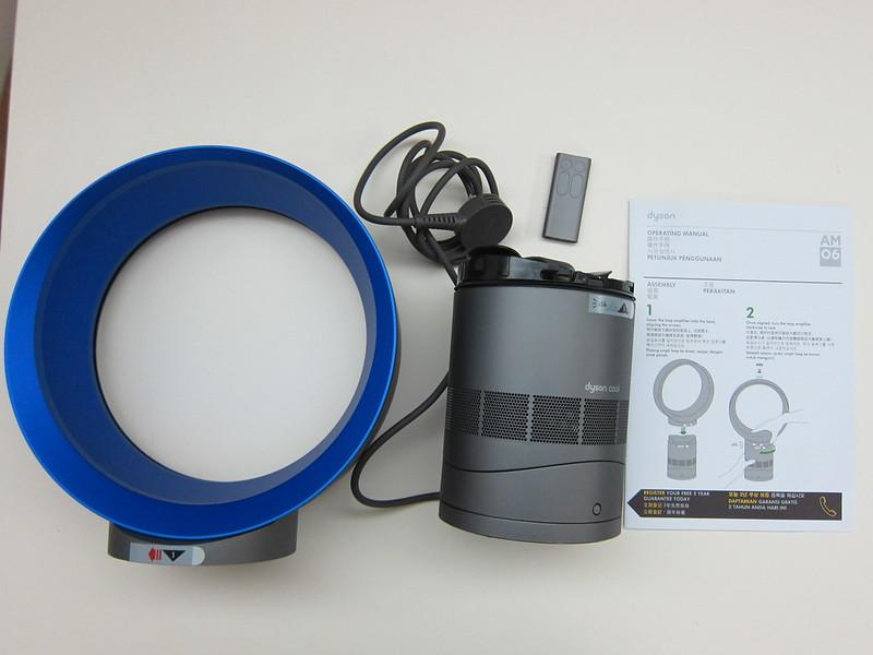 Dyson AM06 Desk Fan 25cm (Iron & Blue) - Box Contents