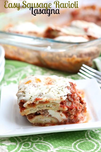 Easy Sausage Ravioli Lasagna