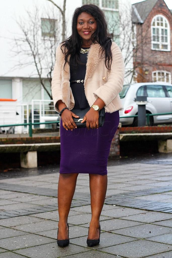 cream-shearling-coat-winter-style,pencil skirt, black peplum top, black clutch bag, clutch bag, black heels, black stiletto heels, black skinny belt, how to wear a purple skirt, purple skirt, how to style a purple pencil skirt
