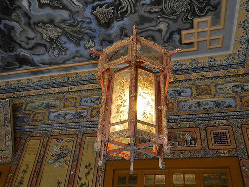 Dragon Ceiling with Lantern in Khai Dinh Royal Tomb in Hue, Vietnam
