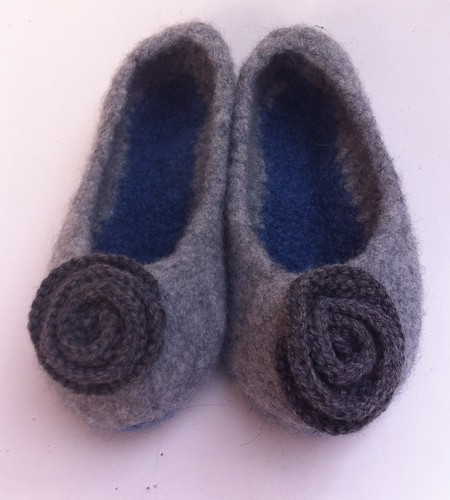 French press slippers felted