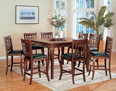Dark Cherry Counter Height Table with 8 Barstools 9pc Dining Table Set & Lazy Susan