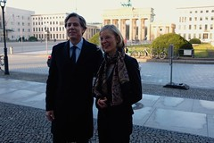 With the Brandenburg Gate in the background, Deputy Secretary of State Antony 'Tony' Blinken poses for a photo with Nora Müller, Executive Director of International Affairs at the Körber Foundation, before a working breakfast with Bundestag and opinion leaders in Berlin, Germany, on March 5, 2015. [State Department photo/ Public Domain]
