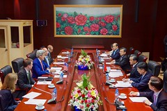 U.S. Secretary of State John Kerry addresses Chinese Foreign Minister Wang Yi and his delegation at the National Convention Center in Vientiane, Laos, on July 25, 2016, during the outset of a bilateral meeting on the sidelines the annual meeting of the Association of Southeast Asian Nations (ASEAN). [State Department/ Public Domain]