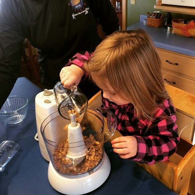 Making peanut butter with grandma.