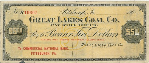 Great Lakes Coal Company Pittsburgh Clearing House scrip