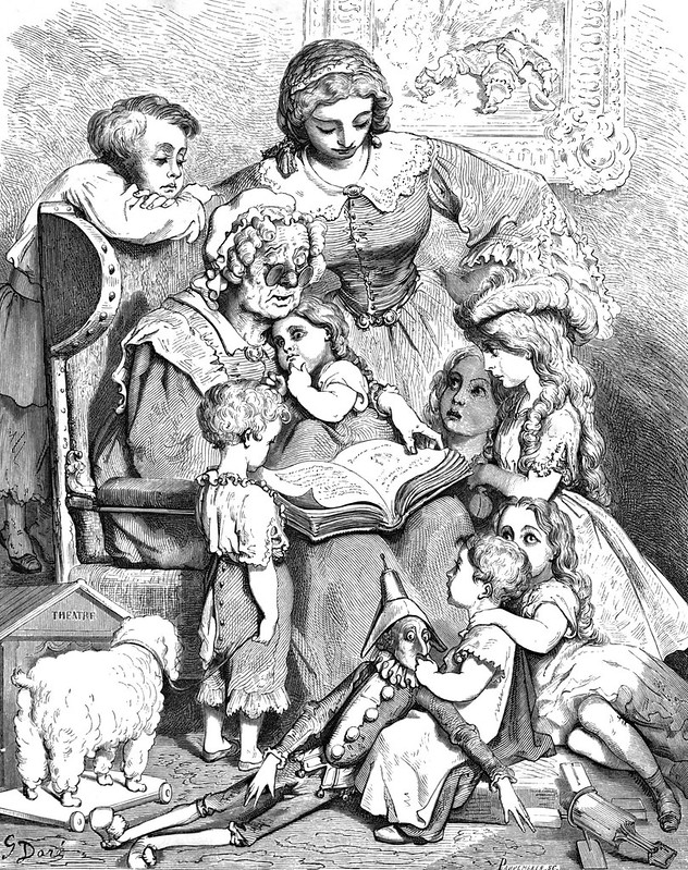 Mother Goose reading to children, 1866