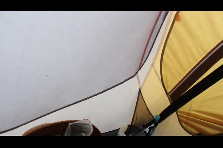 3764 Video of late afternoon rain from inside our tent on the Devils Dome Trail northeast of Devils Pass