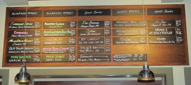 Beer Menu at Alvarado Street Brewery & Grill