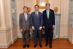 U.S. Secretary of State John Kerry poses for a photo with Randy Berry, the first-ever Special Envoy for the Human Rights of LGBT Persons, and Assistant Secretary of State for Democracy, Human Rights and Labor Tom Malinowski before a welcome reception to commemorate the announcement of the Special Envoy at the U.S. Department of State in Washington, D.C., on February 27, 2015. [State Department photo/ Public Domain]