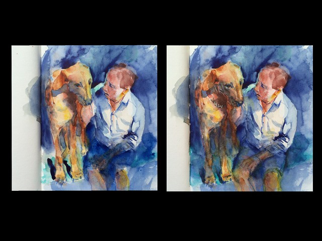 "Watercolour painting by Ako Lamble. ""Mike and Henry"" process"