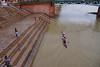 Kayaking on the flooded Garonne river