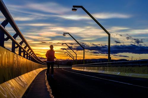 Jogging during golden hour