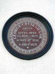 Photo of George Cruikshank blue plaque