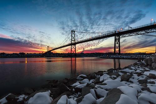 bridge winter sunset snow water novascotia ns halifax dartmouth halifaxharbour macdonaldbridge halifaxbridges