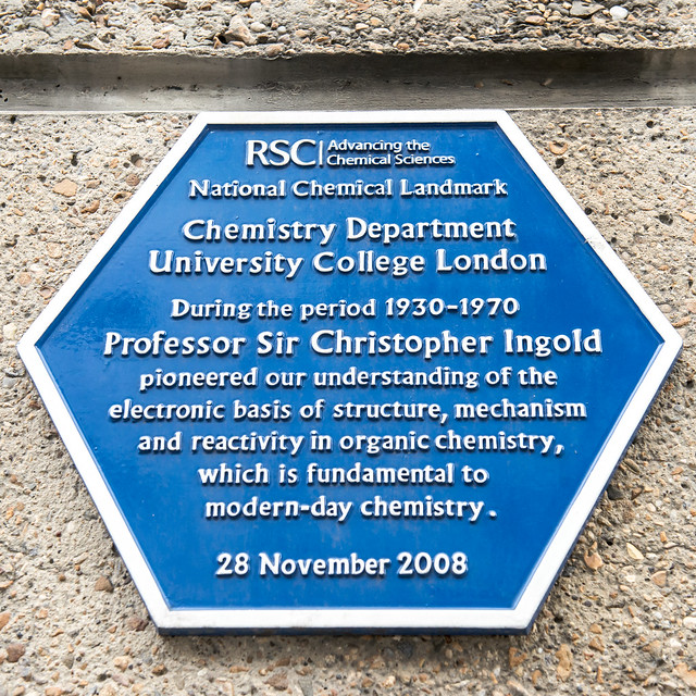 Christopher Ingold blue plaque - Chemistry Department University College London During the period 1930-1970 Professor Sir Christopher Ingold pioneered our understanding of the electronic basis of structure, mechanism and reactivity in organic chemistry, which is fundamental to modern-day chemistry.
