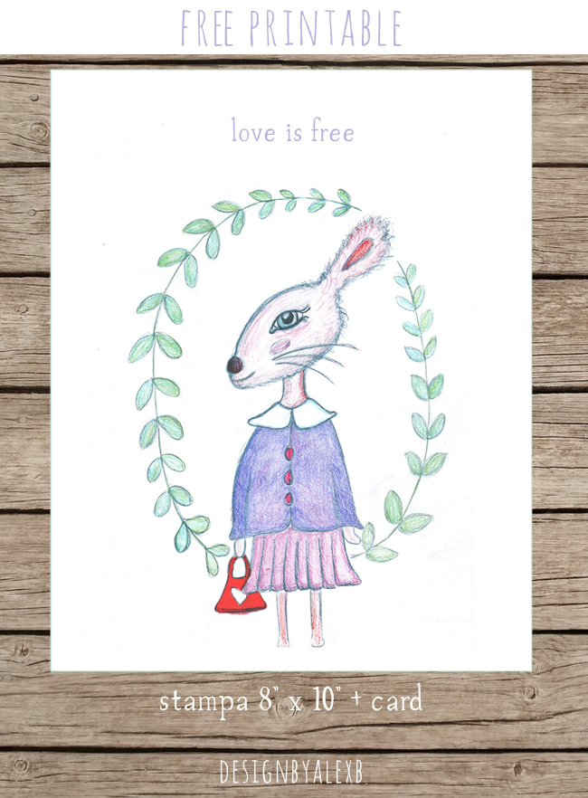 LOVE IS FREE, stampa digitale per san valentino, free printable print and card