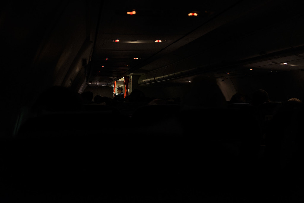 airplane cabin, dark