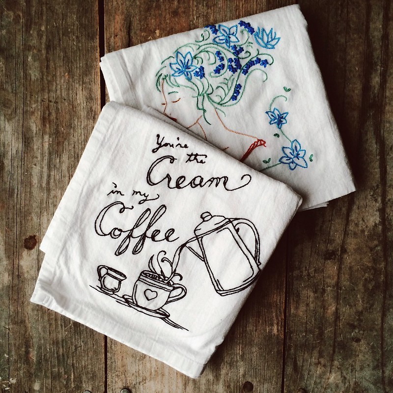 Hand embroidered tea towels.