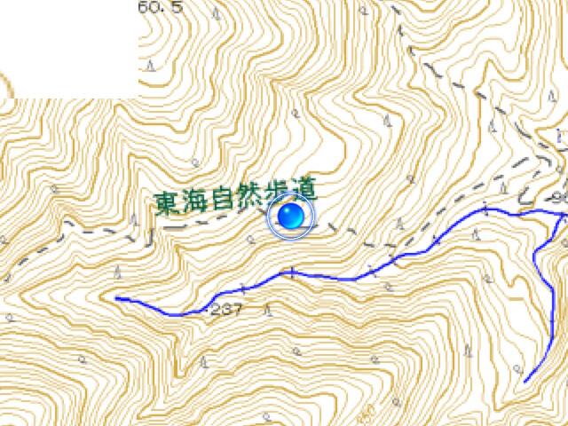志津山 東海自然歩道 復帰時のGPS