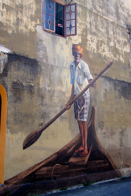 man on boat wall mural, Georgetown, Penang, Malaysia