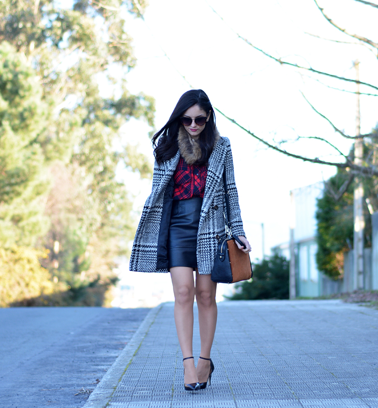 Zara_plaid_ootd_inspiration_outfit_skirt_leather_coat_fur_04