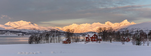 winter red house snow mountains cold norway sunrise farm tromsø troms kvaløya