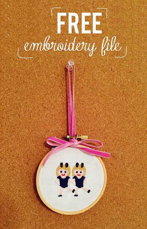 Free Embroidery File: Dancing Girls Emoji