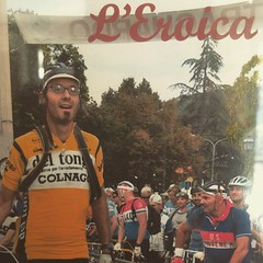 My #tbt is about @@eroicaufficiale 2012 with 210km of dust in the amazing @@visitTuscany so incredible to walk on that blue carpet after so many pedal strokes. It was awesome and yes, I'm pre-registered for the 2015! #eroica #tuscany #stradebianche #vinta
