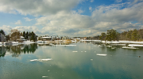 winter ice water clouds reflections maine kennebunk shackfordpond
