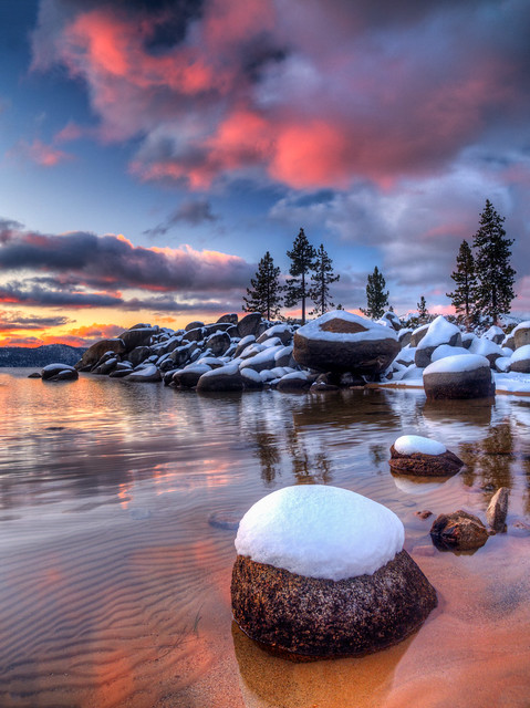 First Snowy Lake Tahoe Sunset of the Year | Flickr - Photo ...