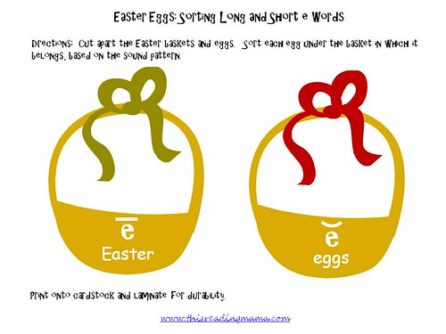 Easter Eggs - Sorting Long and Short Vowel E (Image from This Reading Mama)