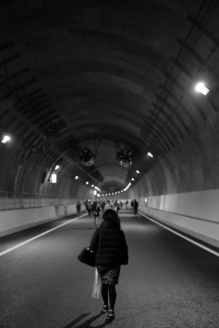 Walking in the Yamate tunnel.