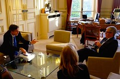 Joined by U.S. Ambassador to France Jane Hartley, Deputy Secretary of State Antony 'Tony' Blinken meets with Jacques Audibert, Diplomatic Adviser to French President François Hollande, in Paris, France, on March 2, 2015. [State Department photo/ Public Domain]