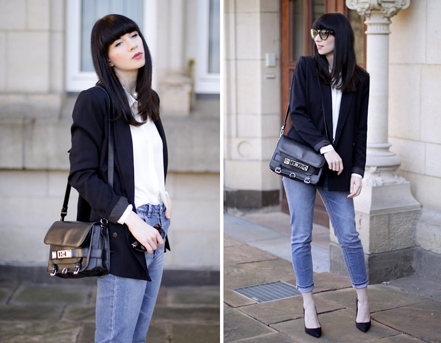 fashion fashionblogger outfit jeans blazer simple business look asos zara topshop proenza schouler brunette bangs ricarda schernus blog blogger germany 1