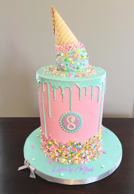 Melted Ice Cream Cone Cake by Nicole Peterson of Cakes by Nicole