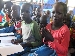 Students in class in the Tierkidi Refugee Camp.