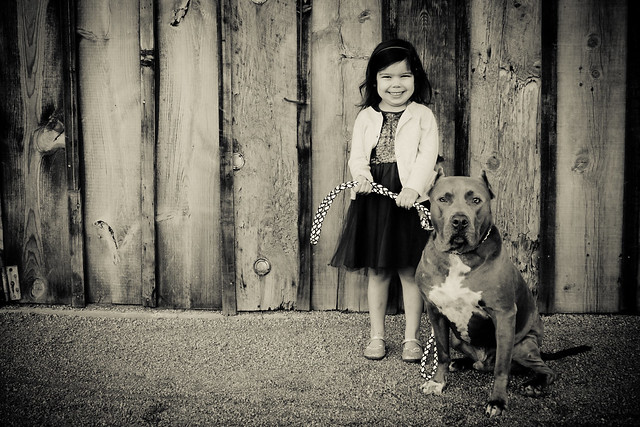 A girl and her pitbull