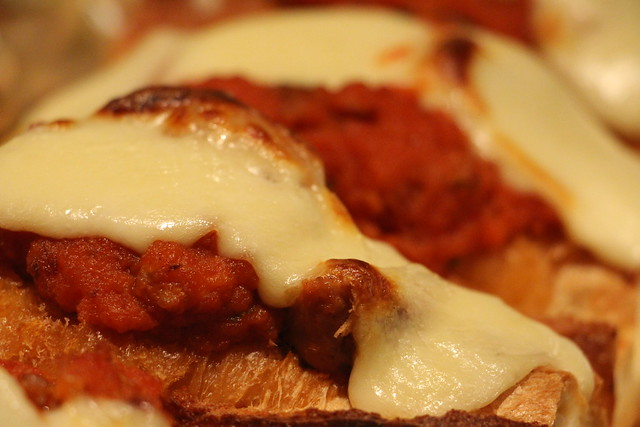 sausage and mozzarella baguette
