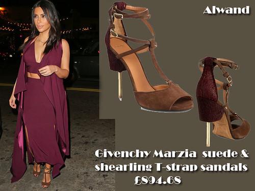 Kim Kardashian in Givenchy Marzia suede & shearling T-strap sandals