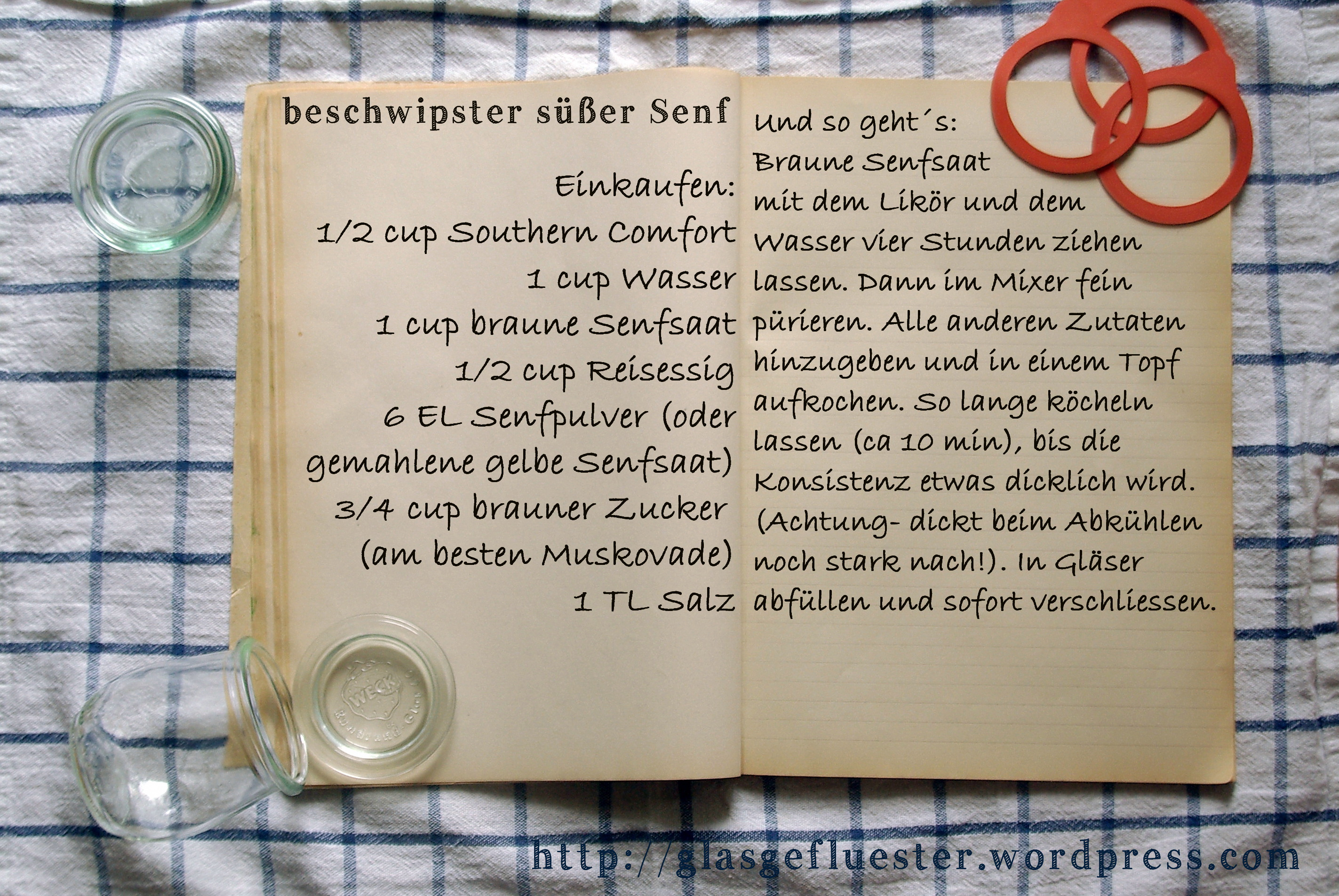Einkaufszettel beschwipster süßer Senf by Glasgeflüster